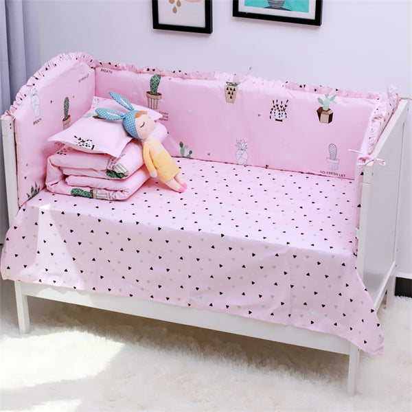 ... 6Pcs Cartoon Baby Bedding Sets Baby Crib Bumpers Bed Around Cot Bed  Sheets 100%Cotton ...