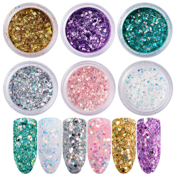 6boxes/set Nail Art Glitter Sequins, Manicure Decorations, Hexagon ...