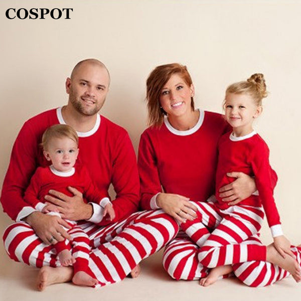 size 7 f72b5 1b6a2 cospot family christmas pajamas set father mother kids striped xmas pjs set