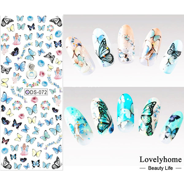 DS072 Nail Design Water Transfer Nails Art Sticker Colored Butterfly ...