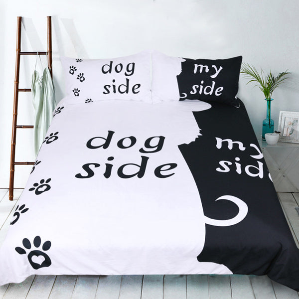 ... Fanaijia Dog Bedding Set 3d Black And White Love Print Duvet Cover Set  With Pillowcase 3pcs