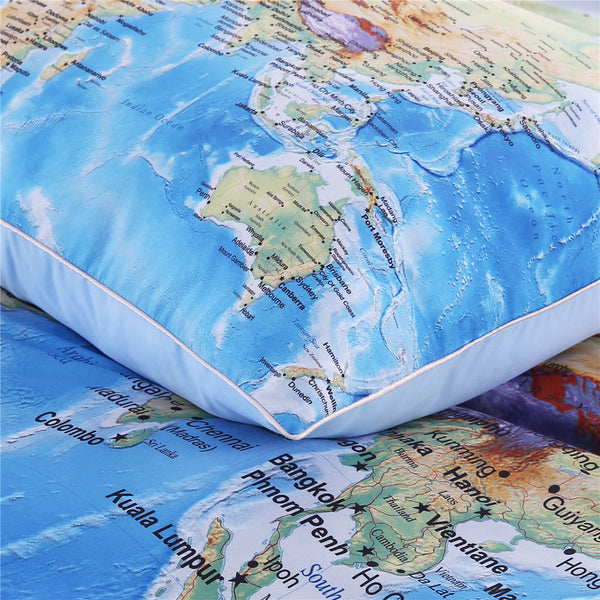 Custom made world map bedding set vivid printed blue bed duvet cover custom made world map bedding set vivid printed blue bed duvet cover with pillowcases soft gumiabroncs Gallery