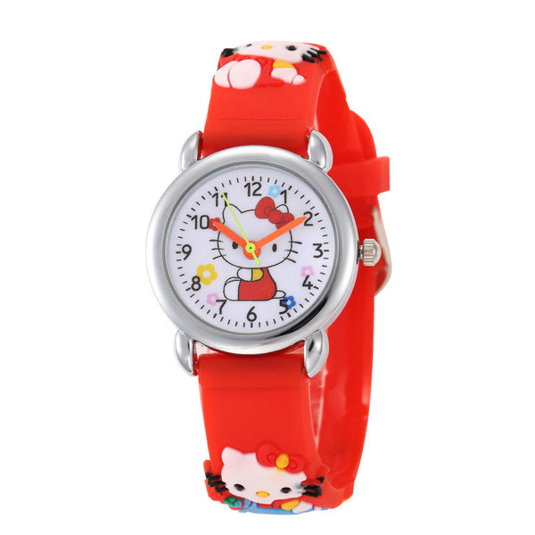 kids cartoon clock cute hot gift kitty lovely hour children leather hello watch wrist watches gril enfant montre sale