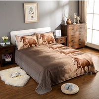 Home Fashion Textile 3D Tiger Horse Animal Bedding Sets Wolf Bedding Sets  4Pcs Bed Linens Twin