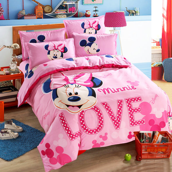 Lovely Pink Adult/kids Minnie Bedding Set Girls Duvet Cover Bed Sheet  Cartoon Pattern Full