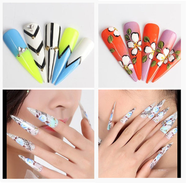 Makartt 500Pcs Long Stiletto Nails Sharp False Nail Art Tips Acrylic Salon White Natural