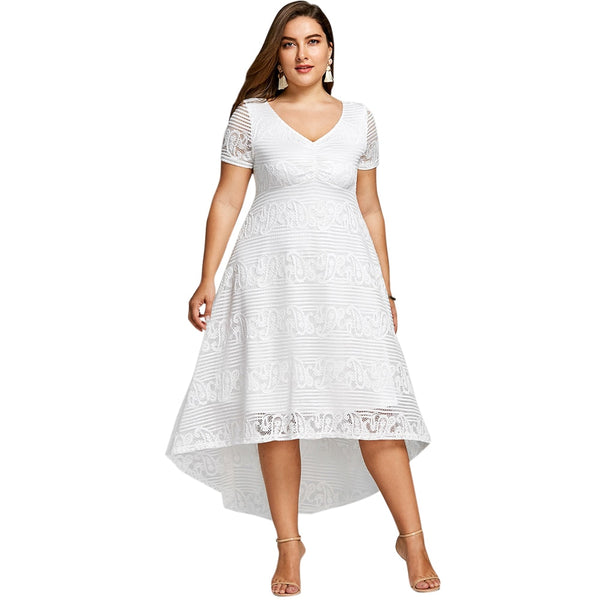 Plus Size Xl 5xl Summer Midi Dress Women Short Sleeves White Color