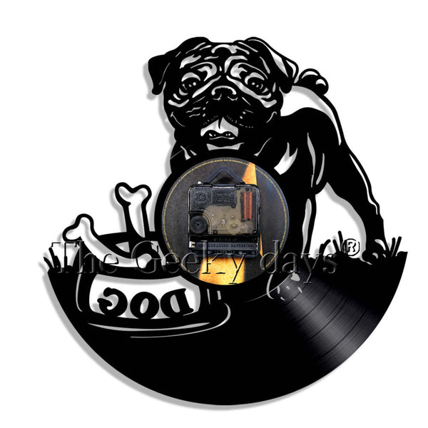 ... Pug Dog Wall Clock Vintage Puppy Wall Art Kid Room Wall Decor Vinyl  Record Clock British ...