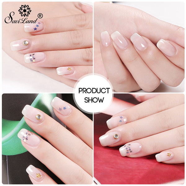 Saviland Opal Jelly Gel White Clear Milky Protein Color Polish Long Lasting Nail Varnish