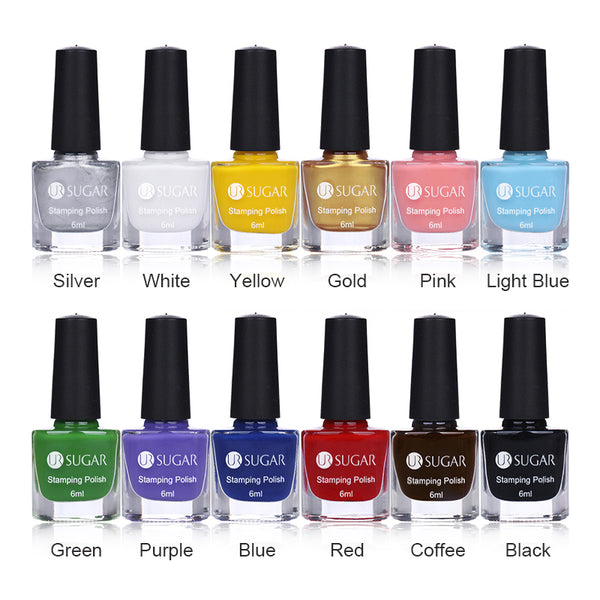 UR SUGAR 6ml Nail Stamping Polish Colorful Nail Art Plate Printing ...