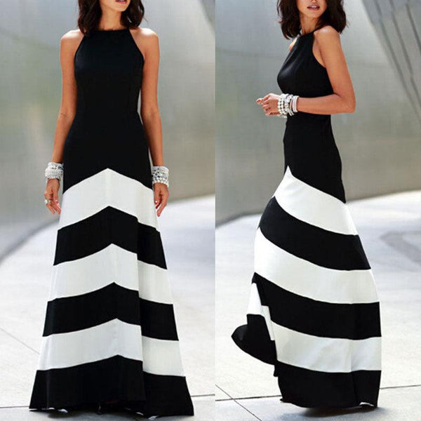 Black and white striped maxi dress womens backless dress summer ...
