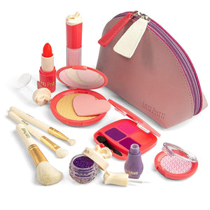Litti Pritti Pretend Makeup For Girls Set - 11 Piece Cosmetic Play Makeup Kit - PU Leather Case …
