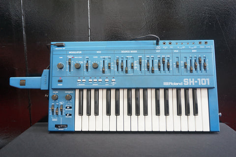 Roland SH-101 Blue Vintage Monophonic Analogue Synthesiser W/ Mod Grip Serviced