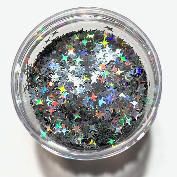 4 POINT STARS - HOLOGRAPHIC SILVER