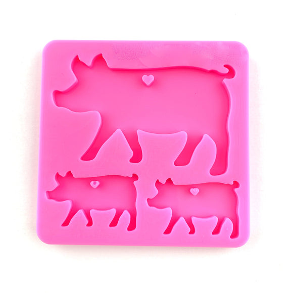 PIG FAMILY KEYCHAIN MLD - 189