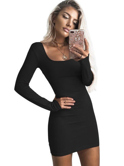224ce9a0947a Plain Square Neck Women's Bodycon Dress – Glamour And Bling