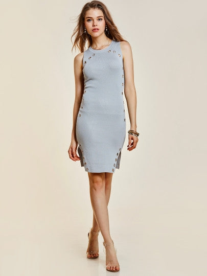ff423e492dce Round Neck Hollow Sleeveless Women s Sweater Dress – Glamour And Bling