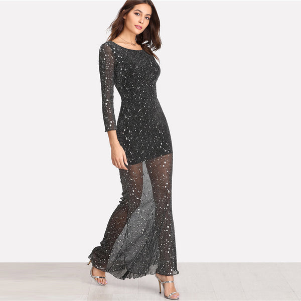 0d316a903697 Backless Sparkle Party Dress in Black – Glamour And Bling