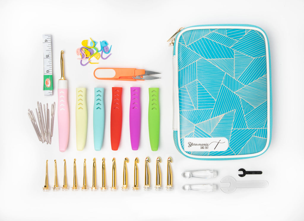 [3rd Gen] Yarn Mania Aiyana Crochet Hooks | Light Up Crochet Hooks w/ 16 Sizes Interchangeable Aluminum Heads | Ergonomic Curve Shape, Soft Handle and Two Brightness Settings (Ultimate Set)