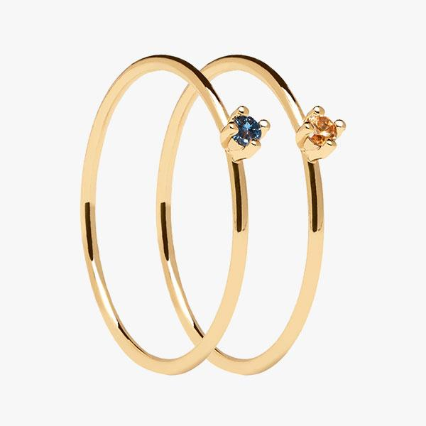 Pack anillos Solitary Celeste&Champagne