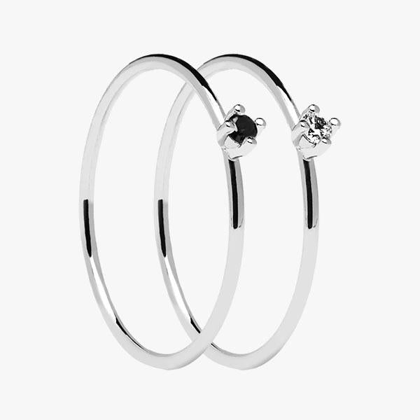 Pack Anillos Plata Solitary Black&White