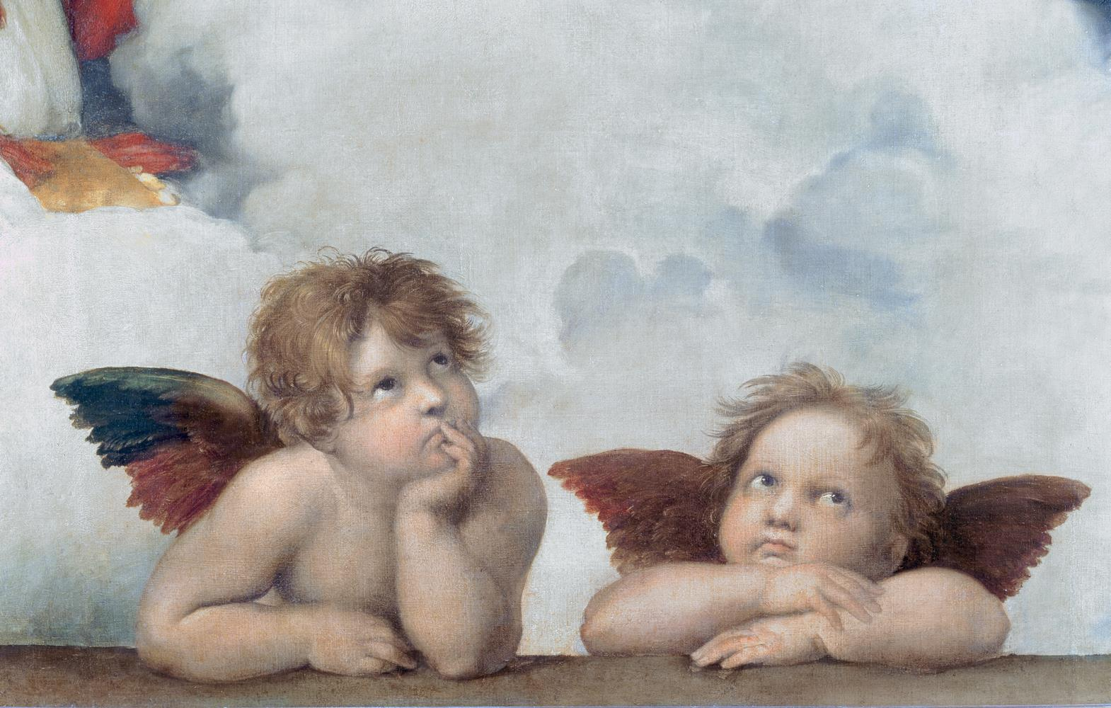 Carta da parati I due putti, La Cappella Sistina, Raffaello Sanzio MyCollection