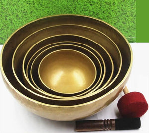 Nepal Handmade Copper Large Singing Bowls with Leather Sticker and Cushion