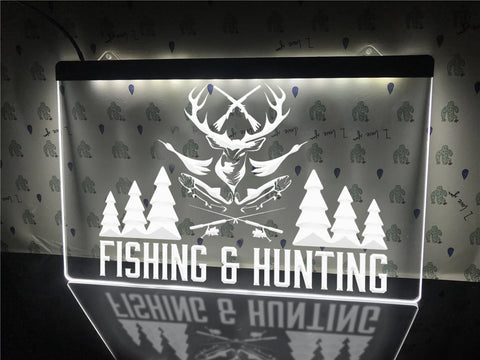 Image of Fishing and Hunting Illuminated Sign