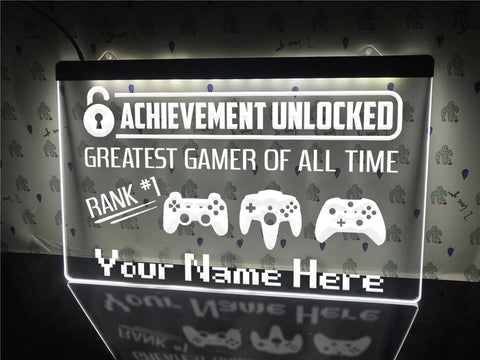 Image of Greatest Gamer Personalized Illuminated Sign