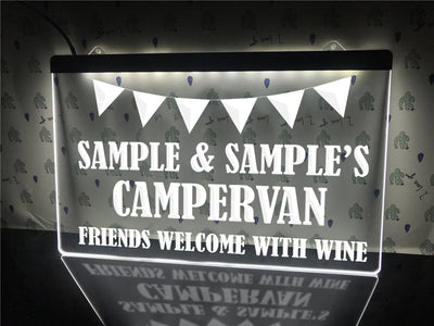 Friends Welcome with Wine Personalized Illuminated Sign