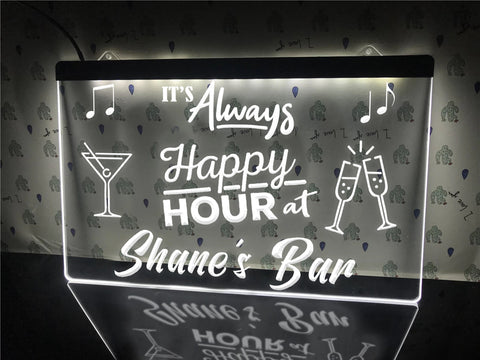 Happy Hour Bar Sign White