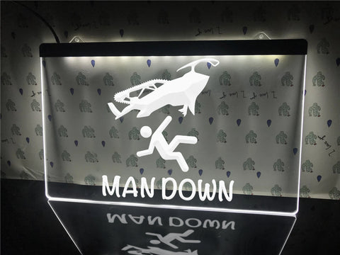 Image of Man Down Funny Illuminated Sign