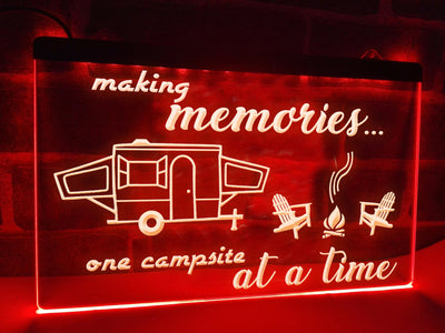Making Memories in Trailer Tent Illuminated Sign