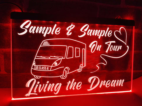 Image of Class A Motorhome on Tour Pesonalized Illuminated Sign