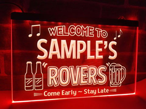 Image of Welcome to the Rovers Personalized Illuminated Sign