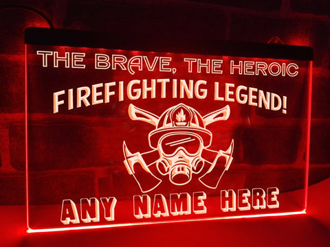 Firefighting Legend Personalized Illuminated Sign