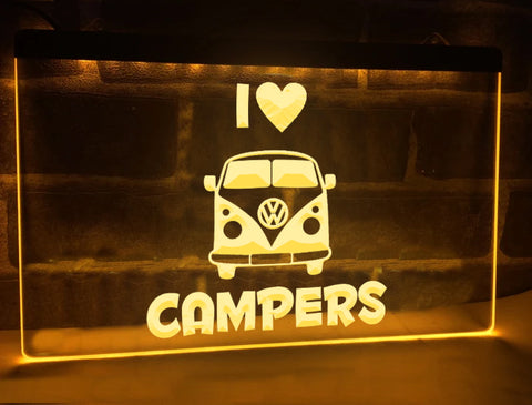 I Love Campers Illuminated Sign