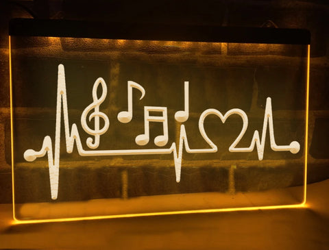 Image of Musical Heartbeat Illuminated Sign