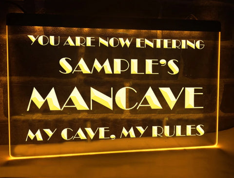 Image of My Cave My Rules Personalized Illuminated Sign