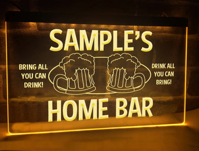 Home Bar Personalized Illuminated Sign