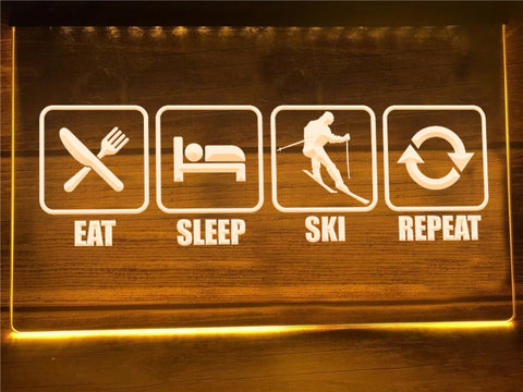 Eat Sleep Ski Illuminated Sign