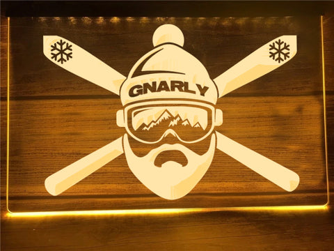 Gnarly Skier Illuminated Sign