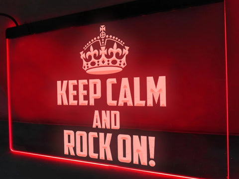 Image of Keep Calm and Rock On Illuminated Sign