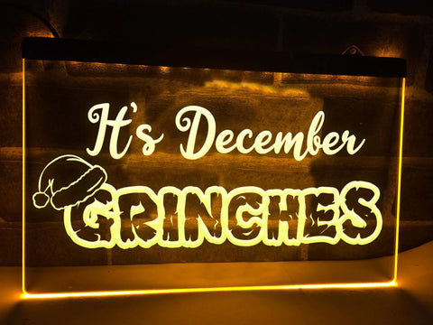 Its December Grinches Illuminated Sign