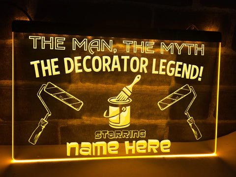 Image of The Decorator Legend Pesonalized Illuminated Sign