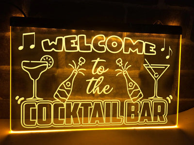 Welcome to the Cocktail Bar Illuminated Sign