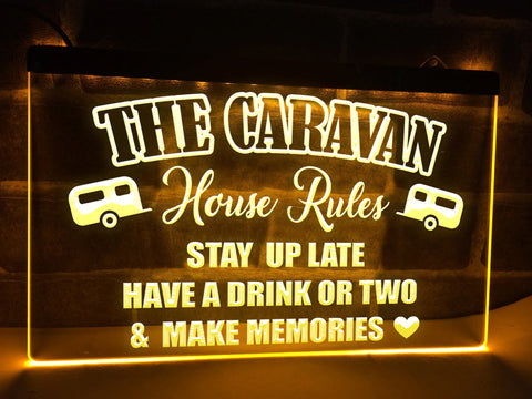 Image of The Caravan House Rules Illuminated Sign