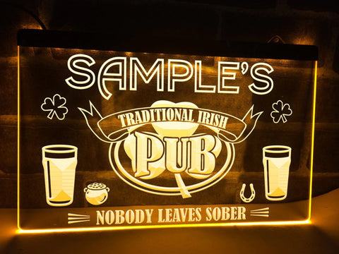 Image of Irish Pub Personalized Illuminated Sign