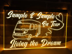 Class A motorhome on tour personalized neon sign yellow