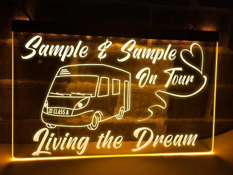 Class A Motorhome on Tour Pesonalized Illuminated Sign